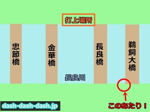 長良川花火大会の穴場スポット鵜飼大橋の場所