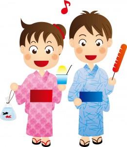 浴衣姿の男の子と女の子のイラスト