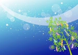 天の川と七夕飾り(笹と短冊)のイラスト