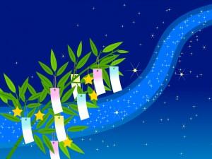 七夕飾り(笹と短冊)と天の川のイラスト