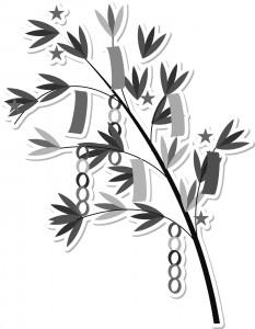 七夕飾り(笹と短冊)のイラスト(白黒)