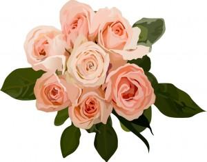 ピンクのバラ(薔薇)の花束のイラスト