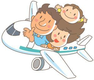 飛行機旅行をする家族のイラスト