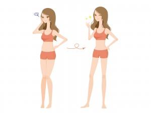 ダイエットに成功した女性のイラスト