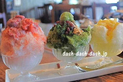 かき氷3種盛り(ギャラリーカフェコントレール・いちご・抹茶・パイン)01