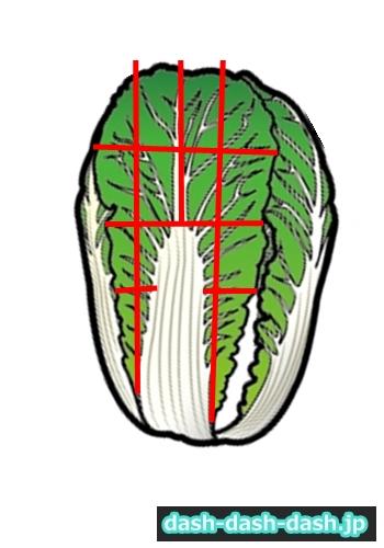 鍋 白菜 切り方03