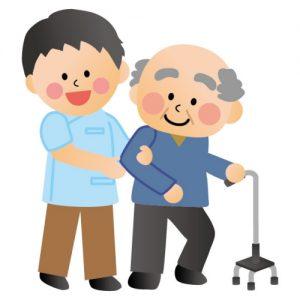 歩行訓練(介護)をするおじいちゃんのイラスト