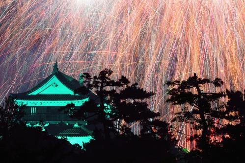 岡崎城下家康公夏まつり花火大会(岡崎城を包む花火)