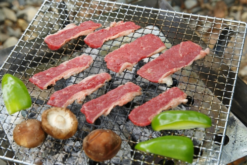 河川敷でのバーベキュー(BBQ・肉・しいたけ・ピーマン)