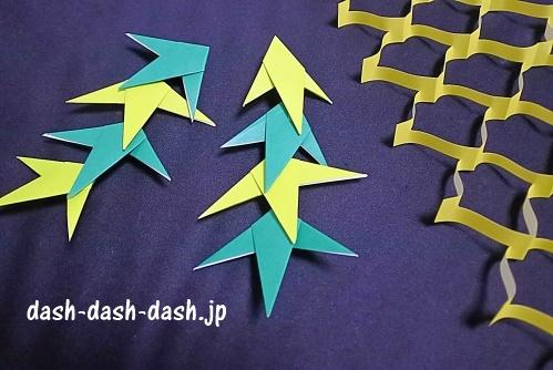 折り紙で作った七夕の笹(と天の川)