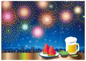 花火とスイカとビールのイラスト