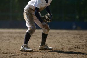 黒土で汚れた野球(球児)のユニフォーム