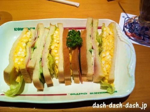 コメダ珈琲店おすすめメニュー第3位のミックスサンド