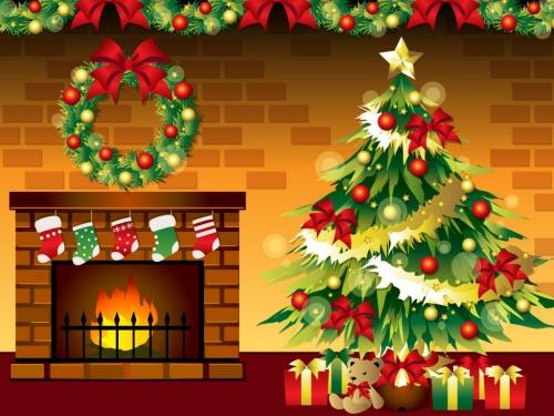 クリスマスツリーと暖炉(社会人彼氏)