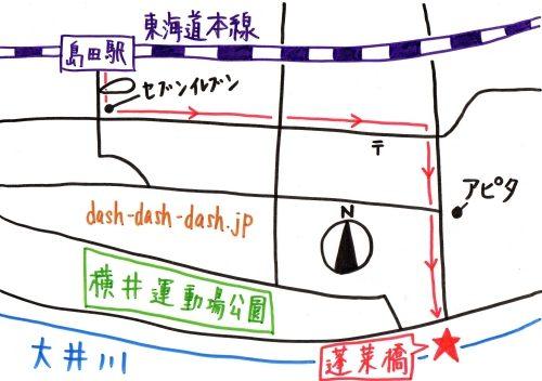 島田駅から蓬莱橋のアクセス(地図)