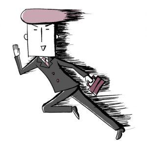 颯爽と走るサラリーマン風の男性のイラスト