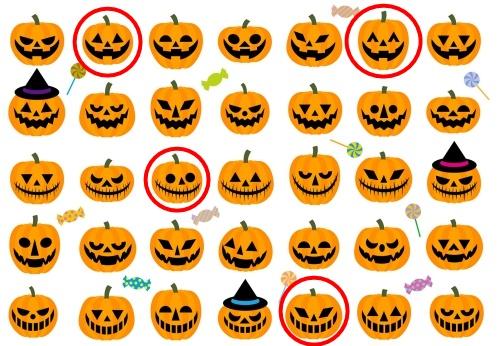 ハロウィンかぼちゃの顔の表情いろいろ(イラスト)