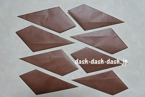 折り紙リース(8枚)の簡単な作り方(パーツ完成図)01