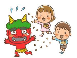 豆まきをする子供(鬼に福豆を投げる男の子と女の子のイラスト)
