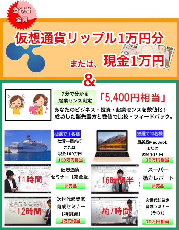 仮想通貨リップル1万円分または現金1万円
