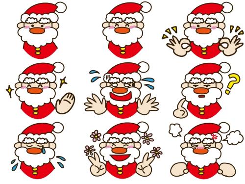 サンタクロースの表情セット