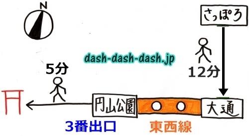 札幌駅から北海道神宮へのアクセス(地下鉄・札幌駅から大通駅は徒歩)