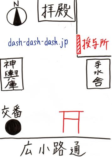 朝日神社境内図(授与所の場所)