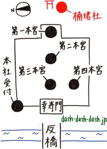 住吉大社御朱印受付場所(楠珺社)の地図01