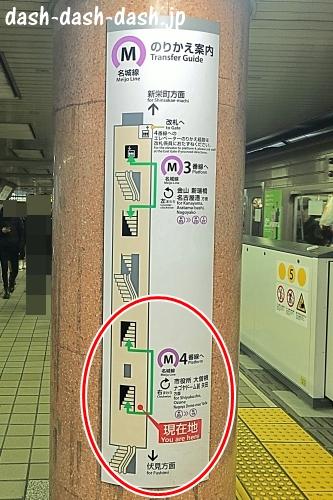 地下鉄東山線栄駅(名城線への乗り換え案内)