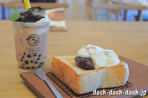 厚切り小倉トースト・タピオカロイヤルミルクティー(つばめパン&Milk)