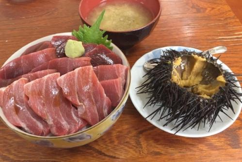 大間のマグロ丼とウニ