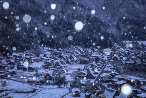 岐阜県白川郷の雪景色