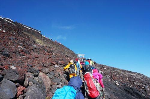 富士登山と青空
